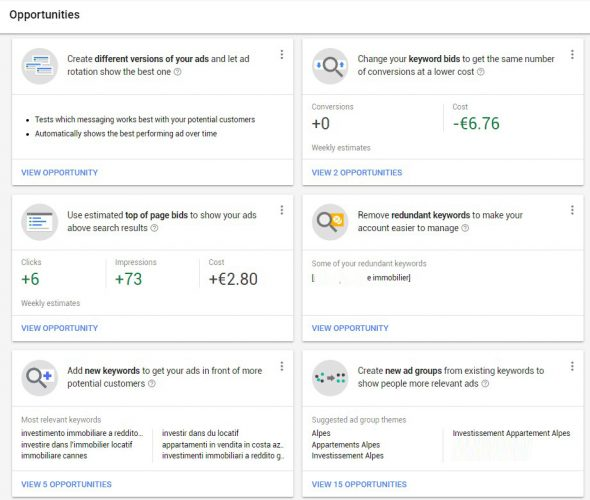new Google AdWords interface-Opportunities