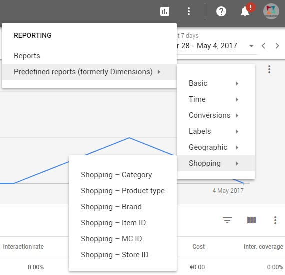 new Google AdWords interface-Reporting Tab