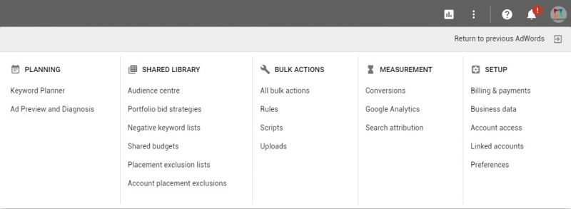 new Google AdWords interface-Tools Tab